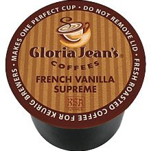 Gloria Jean's French Vanilla Supreme Coffee,Regular - Medium - K-Cup - 24 / Box