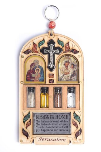 Wooden Plaque Holy Family Maria Christ Crucifix Home Blessing With Semi Precious Stones Wall Hanging Gift