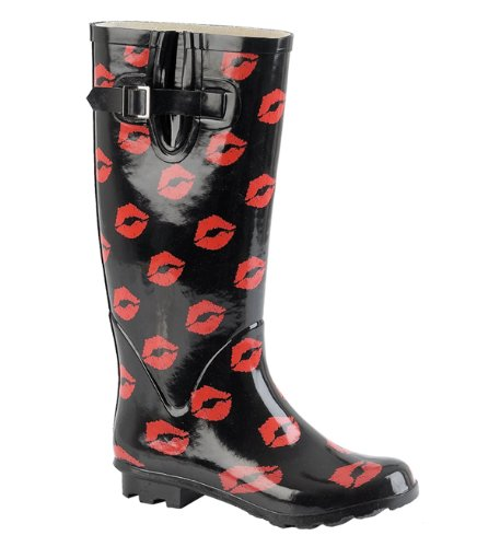 KCMODE Ladies Black Winter Wellington Boots with Lips Kisses