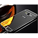 KPH Luxury Mirror Effect Acrylic Back + Metal Bumper Case Cover For Samsung Galaxy J7 - (New 2016 Edition) - BLACK