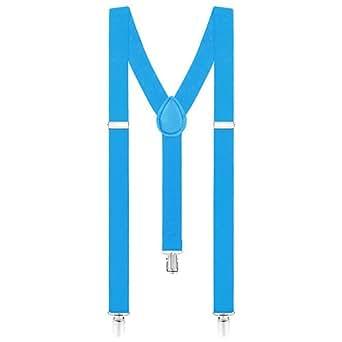 Taffstyle® Damen Herren Bunte Neon & Uni Farben - Y Form - Hosenträger mit 3 Clips - Azurblau
