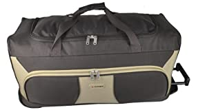 5 Cities 30 Large Chocolate And Beige Ripstop Material Wheeled Holdall Trolley Bag