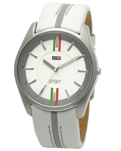 DFactory Men's DFC003ZWE White Label White Dial White Leather Strap Watch