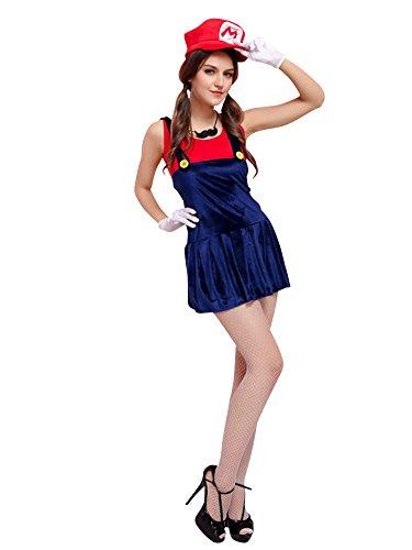 Molly Frauen Süß Halloween Cosplay Mario Kostüme Gurt Kleid Rot