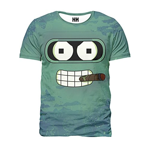 FUTURE BENDER - T-Shirt Man Uomo - Futurama Fry Leela T-Shirt Cartoon Simpson Animazione Cartone