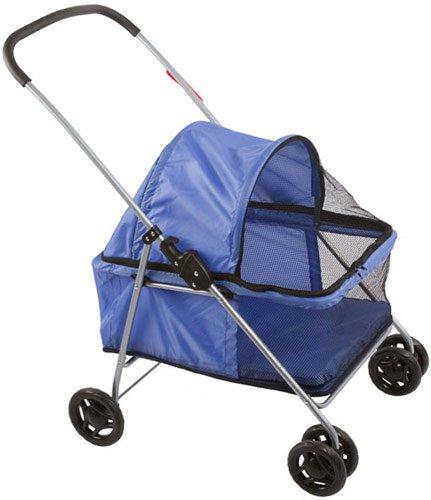 Large Blue Basket-Style Folding Pet Carrier Stroller front-147086