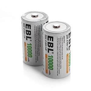 EBL® 10000mAh Ni-MH Rechargeable D Batteries, 6 Pack