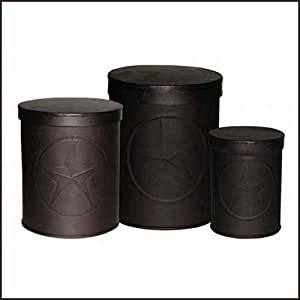 amazon com country star canisters set rustic brown