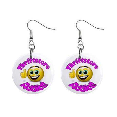 Thiftstore Addict Novelty Dangle Button Earrings