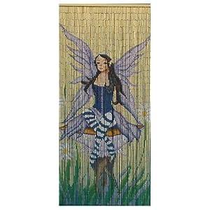 Fairy on toadstool painted bamboo door curtain amazon for Amazon uk fairy doors