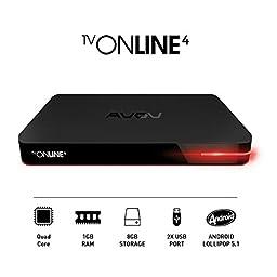 Avov TVonline 4K IPTV/OTT set-top box with Kodi, MickyHop, Stalker & Nova Middleware, bluetooth 4.0 & much more
