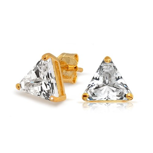 Bling Jewelry Gold Vermeil Basket Set Trillion Cut CZ Unisex Triangle Stud Earrings - 7mm