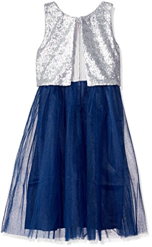 Emerald Sundae Big Girls' Sequin Popover Top with Tulle Skirt Dress, Silver/Navy, 16