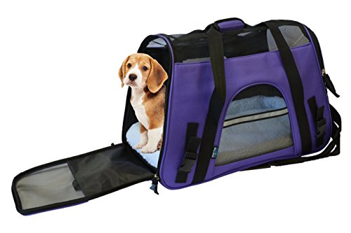 KritterWorld 19-Inch Large Soft Sided Pet Carrier Comfort Airline Approved Travel Tote Shoulder Bag for Small Dogs Cats Small Animals Tote w/ Seat Belt Buckle & Removable Fleece Bed – Purple