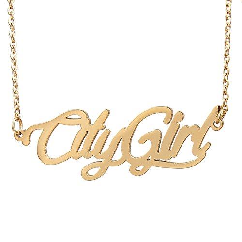 """AOLOSHOW iniziale Name Necklaces-Collana con ciondolo """"Best Friends""""-Collana Gioiello relazione dell'amicizia, acciaio inossidabile, colore: City Girl Gold, cod. WNL-2450 City Girl Gold"""