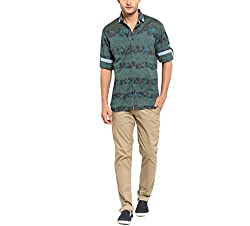 Copperstone Men's Casual Shirt (8903944554757_Green_Large)