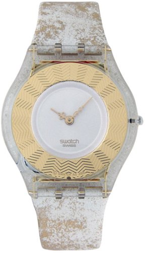 SWATCH SWISS THIN GOLD LEAK LEATHER LADIES WATCH