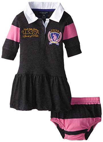 U.S. Polo Assn. Baby-Girls Infant 3/4 Striped Sleeves And Solid Twill Dress, Heather Charcoal, 12 Months
