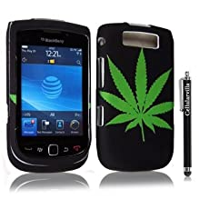 FOR Blackberry Torch 9800 Green Leaf Design Hard Case Cover + Stylus Touch Pen