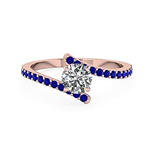 3/4 Carat Blue Sapphire & Round Cut Diamond 14K Gold Engagement Rings For Women GIA (I Color, IF Clarity)