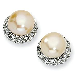 Sterling Silver CZ Pink Cultured Pearl Stud Earrings