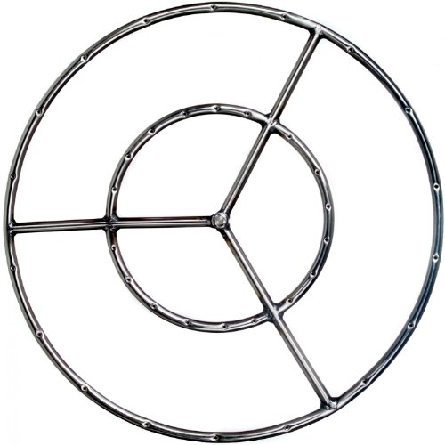 24 Inch Stainless Round Double Natural Gas Fire Pit RingB00026S6DA : image