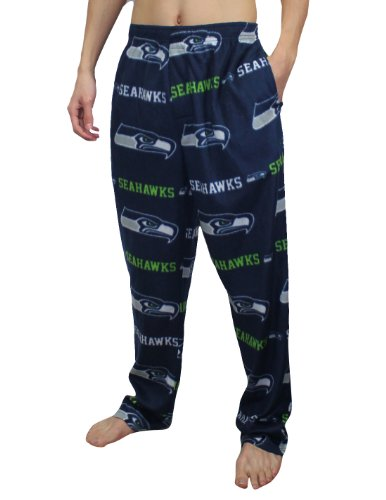 NFL Seattle Seahawks Mens Polar Fleece Sleepwear / Pajama Pants Large Dark Blue at Amazon.com