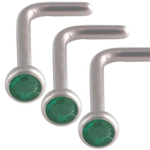 3Pcs 18g 18 gauge 1mm Steel nose rings studs screws bones bars Emerald Crystals AJHV Jewellery Body Piercing