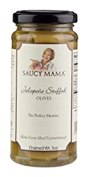 Saucy Mama Jalapeno Stuffed Olives, 5-Ounce Boxes (Pack of 6)