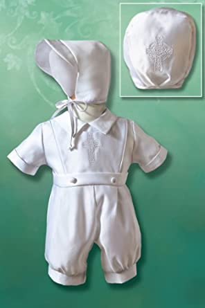 Boy's Matte Satin Christening Romper with Embroidered Celtic Cross, 9-12 Months, 18-22 lbs