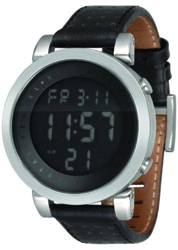 Vestal Men'S Ddl002 Digital Doppler Silver And Black Leather Watch