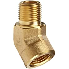 Parker Brass Pipe Fitting, 45 Degree Street Elbow, NPT Female X NPT Male