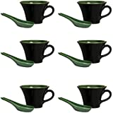 Soup Mug With Spoon Ceramic/Stoneware In Black & Green (Set Of 6) Handmade By Caffeine