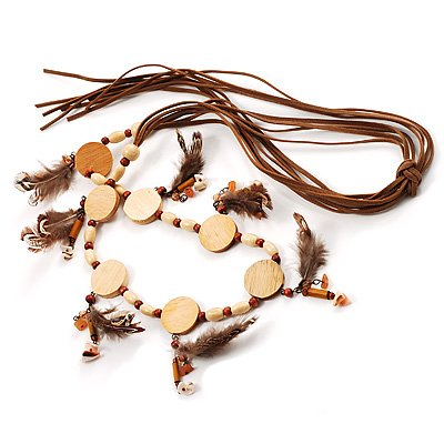 Wooden Nugget Feather Long Suede Cord Safari Necklace