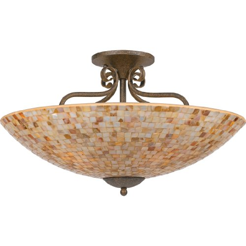 Quoizel MY1723ML Monterey Mosaic 5 Light 24-Inch Semi Flush Mount, Malaga
