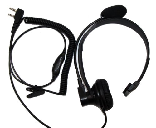 Secuda Over Head Boom Mic Earpiece/Headset For Baofeng Radios Walkie Talkie 2-Pin Jack