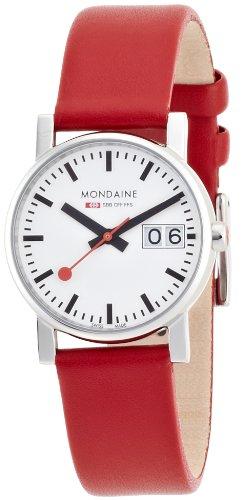 Mondaine - A669.30305.11SBC - Montre Femme - Quartz - Analogique - Bracelet Cuir Rouge