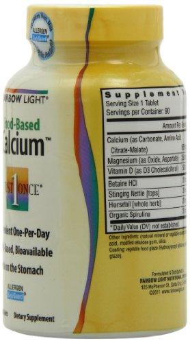 Rainbow Light 每日一片 Just Once 纯天然食物钙片 90粒图片