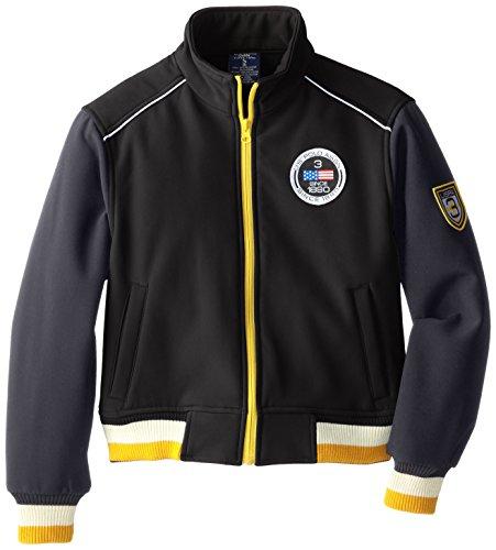 U.S. Polo Association Big Boys' Soft Shell Mock Neck Jacket with Striped Rib Knit Trim, Black, 14/16 Rib Trim Jacket
