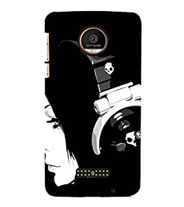 Headphone Girl 3D Hard Polycarbonate Designer Back Case Cover for Motorola Moto Z Force :: Motorola Moto Z Force Droid