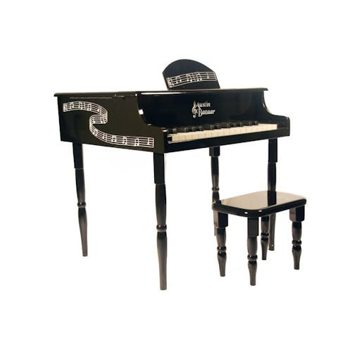 Austin Bazaar Kids 30 Keys Baby Grand Piano with Matching Bench - Black