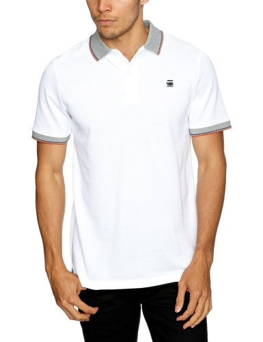 G Star CL Short Sleeve Printed Men's Polo Shirt White Small