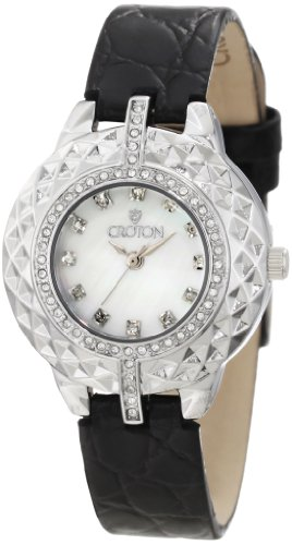 Croton Women's CN207360BSBK Crystal Accented White Mother-Of-Pearl Dial Black Leather Watch