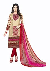 Varsha Women's Chiffon Unstitched Dress Material (Red and Beige)