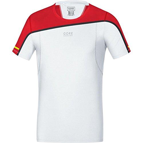 Gore Running Wear SSSULT013505 Maglia Corsa Uomo, Maniche corte, Ultraleggera e traspirante, GORE Selected Fabrics, FUSION Shirt, Taglia L, Bianco/Rosso