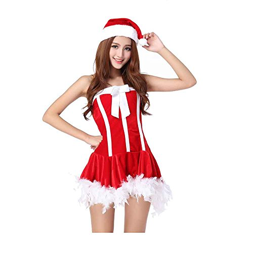 Vinciph Girl Fancy Santa Cosplay Suit Claus Sexy Christmas Costume Dress for Women