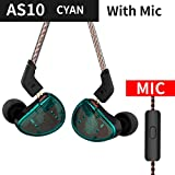 KZ AS10 Headphones 5BA Balanced Armature Driver HIFI Bass Earphones In Ear Monitor Sport Headset Noise Cancelling Earbuds (With Mic, Blue) (Color: Blue, Tamaño: With Mic)