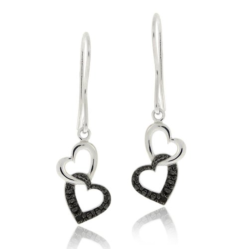 Sterling Silver Black Diamond Accent Double Heart Dangle Earrings