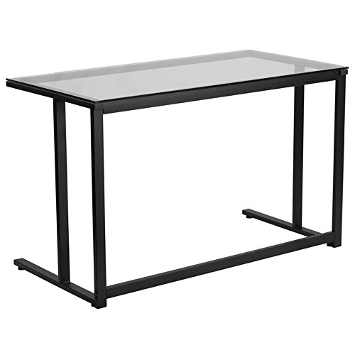 Glass Desk with Black Pedestal Frame (Pedestal For Desk compare prices)