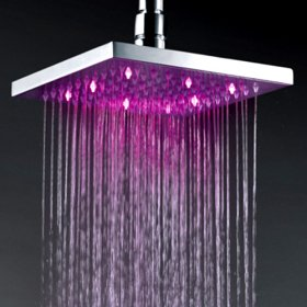 12 Inch Chromed Brass Square LED Rainfall Shower Head